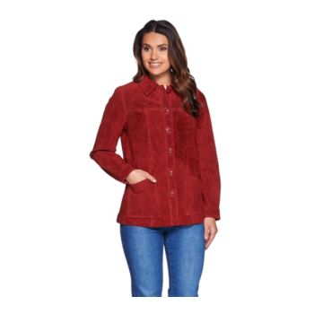 Denim & Co. Button Front Washable Suede Jacket with Pockets