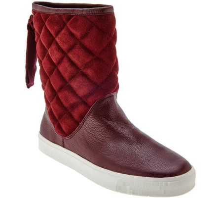 """As Is"" Isaac Mizrahi Live! SOHO Quilted Boots with Back Ribbon Detail"