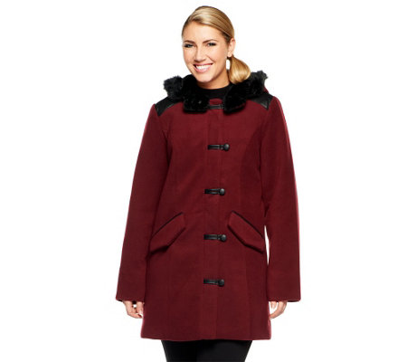 """As Is"" Dennis Basso Faux Wool Toggle Front Coat with Faux Leather Trim"