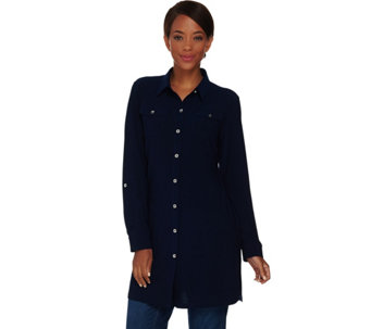 Susan Graver Textured Liquid Knit Button Front Tunic Shirt - A282076