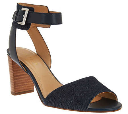 """As Is"" Marc Fisher Ankle Strap Block Heel Sandals - Genette"