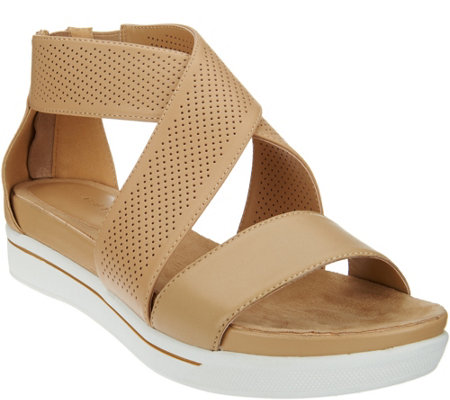 """As Is"" H by Halston Leather Sandals with Perforated Straps - Peyton"