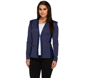 """As Is"" G.I.L.I. Twill and Faux Leather Blazer w/ Zip Pockets - A285276"