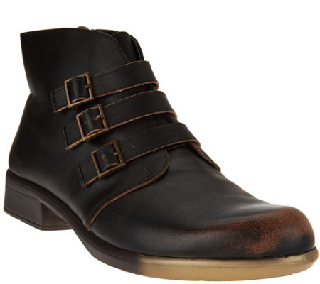 Naot Leather Ankle Boots w/ Buckle Detail - Calima