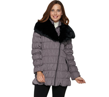 Dennis Basso Ruched Jacket with Detachable Faux Fur Collar