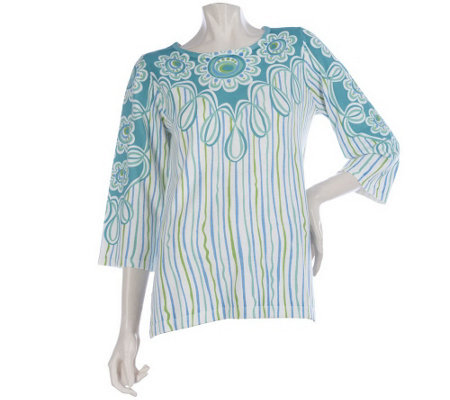 """As Is"" Bob Mackie's 3/4 Sleeve Carnival Print Sweater with Side Slits"
