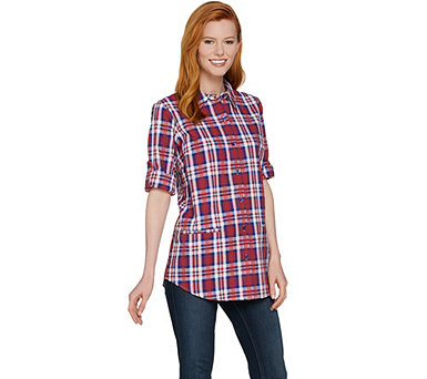 Joan Rivers Plaid Seersucker Boyfriend Shirt - A287176