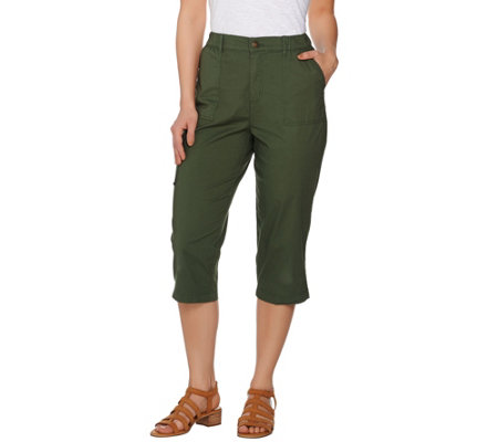 """As Is"" Denim & Co. Stretch Capri Cargo Pants with Pockets"