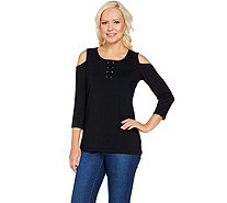 Susan Graver Weekend Stretch Cotton Modal Cold Shoulder Top - A288476