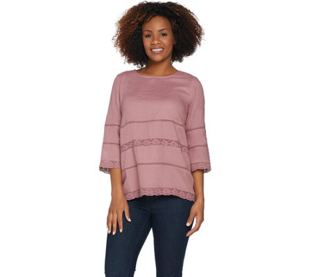 LOGO by Lori Goldstein Solid Top with Crochet Trim & Pintuck Detail