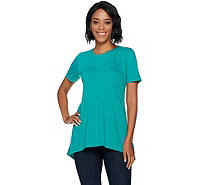 LOGO Layers by Lori Goldstein Cotton Slub Knit Top with Hi-Low Hem - A290476