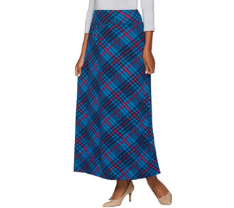 """As Is"" Denim & Co. Plaid Printed Pull-on Maxi Skirt - A290576"