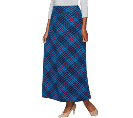 """As Is"" Denim & Co. Plaid Printed Pull-on Maxi Skirt"