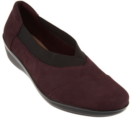 """As Is"" Clarks Nubuck Leather Slip-on Shoes - Everlay Eve"