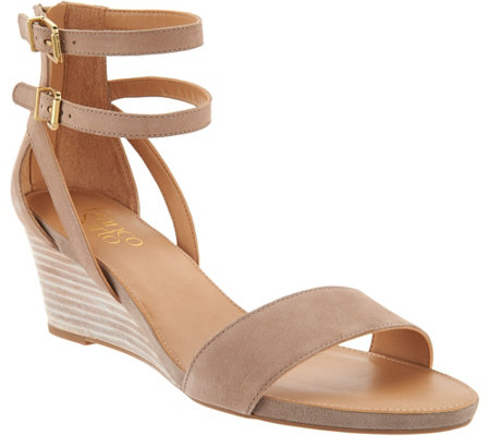 Franco Sarto Leather Ankle Strap Wedge Sandals - Danissa