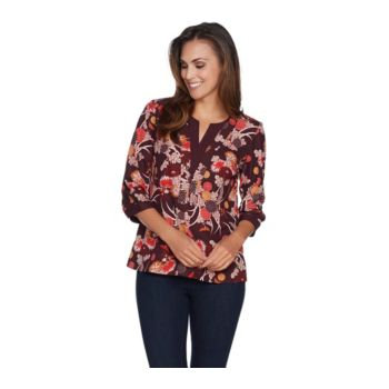 Studio by Denim & Co. Floral Print V-Neck Top