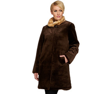 """As Is"" Dennis Basso Platinum Collection Sheared Faux Mink Coat - A293376"