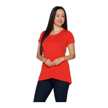 H by Halston Essentials Short Sleeve Hi-Low Hem Swing T-shirt
