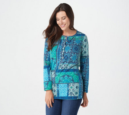 Denim & Co. Perfect Jersey Button Henley Patchwork Print Tunic