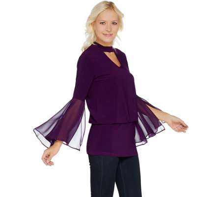 Laurie Felt Knit Top with Woven Bell Sleeves