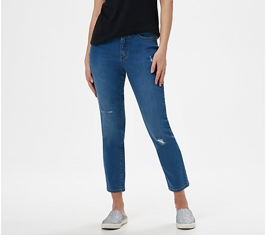 Studio by Denim /& Co Petite Classic Denim Ankle Jeans Pants White Size 6P QVC