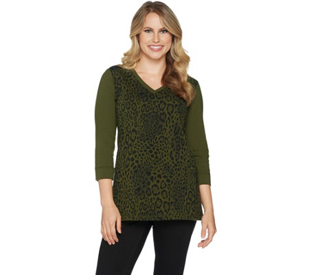 """As Is"" Susan Graver Weekend Animal Printed French Terry Top w/Sequins"