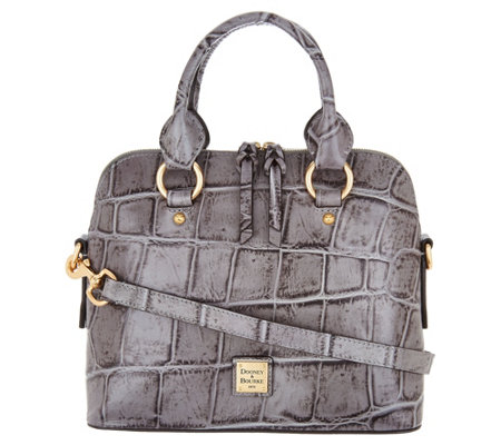 """As Is"" Dooney & Bourke Croco Embossed Leather Satchel Handbag-Cameron"