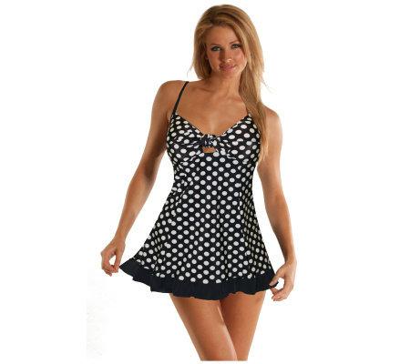 Carol Wior Classics Black And White Polka Dot Swim Dress