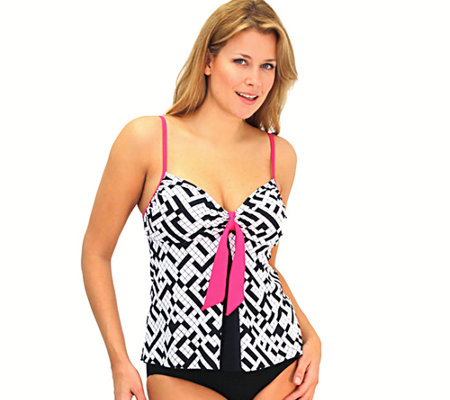 Fit 4 U Tummy Pleated Tie Front Swim Top