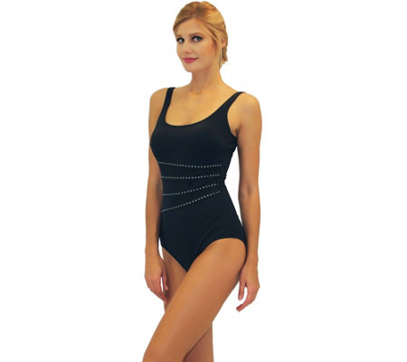 Fit 4 Ur Tummy Metallic Studded Stripe Tank Swimsuit