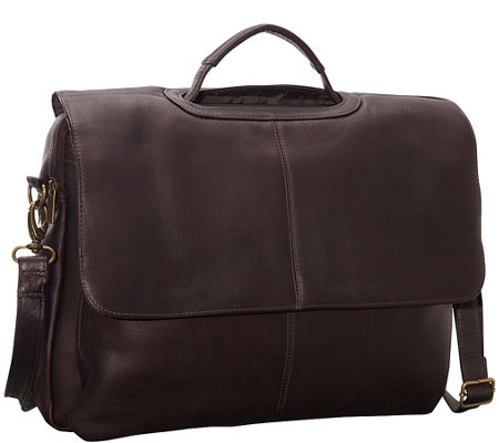 Le Donne Leather Flap-Over Computer Briefcase