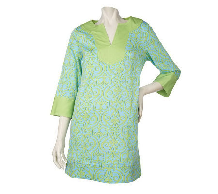Lilly & Van Printed Stretch Cotton Tunic with Contrast Border