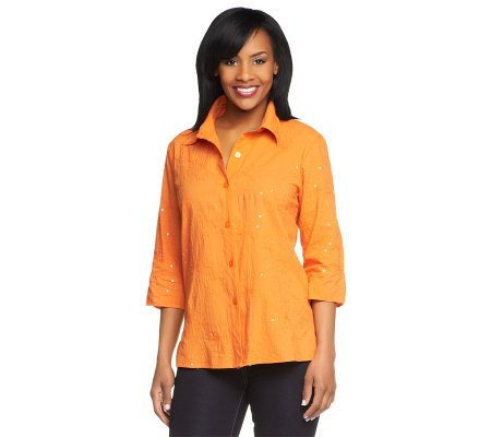 Susan Graver Cotton Lawn Button Front Shirt with Embellishment