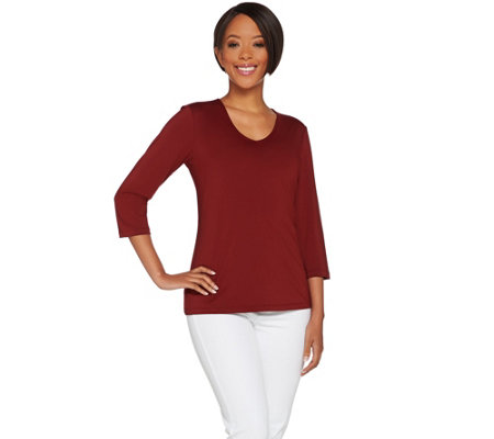 Susan Graver Essentials Butterknit 3/4 Sleeve V-neck Top