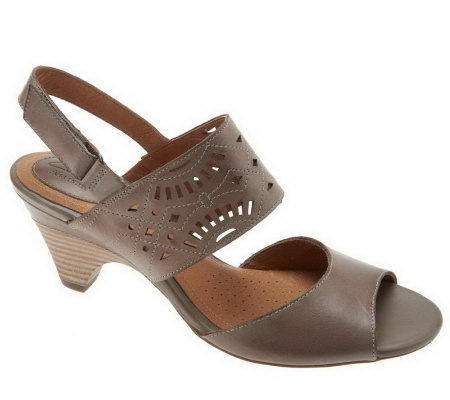 Clarks Artisan Evant Jennifer Leather Sandals w/ Cutout Detail