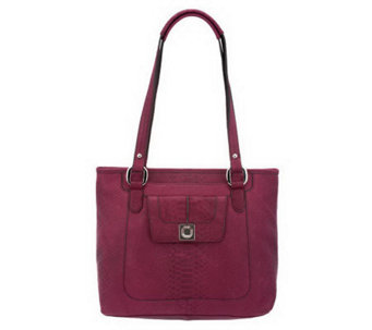 B. Makowsky Luxe Cobra Embossed Leather Tote - A228877