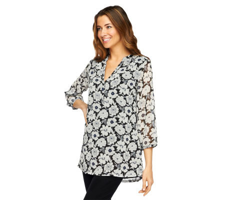 Liz Claiborne New York Floral Printed Chiffon Tunic with Lining