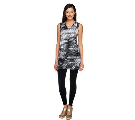 Women with Control Sleeveless V-Neck Tunic & Leggings Set