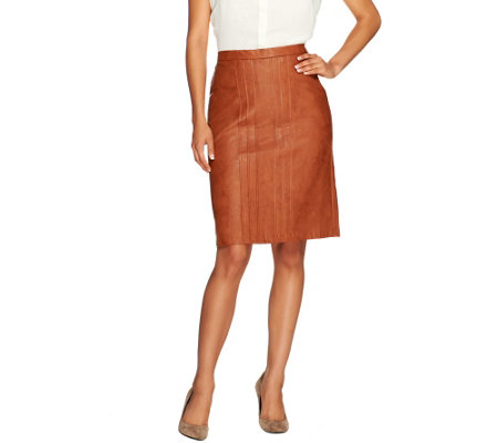 George Simonton Faux Leather Skirt with Pleat Detail & Back Elastic