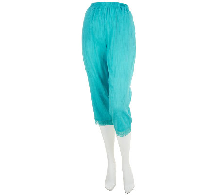 Denim & Co. Gauze Capri Pants with Lace Trim