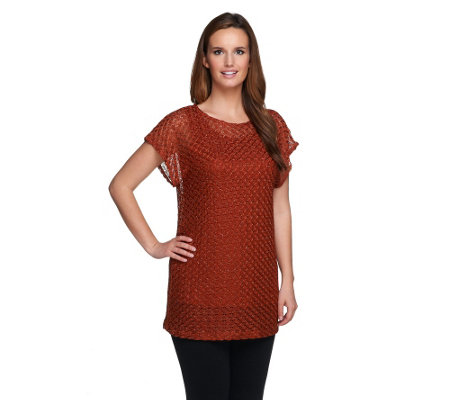 Susan Graver Metallic Lace Knit Extended Sleeve Tunic with Solid Tank