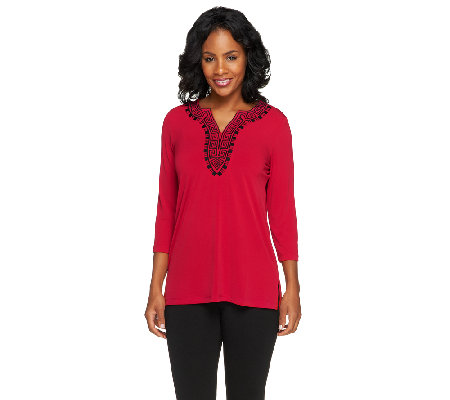Susan Graver Liquid Knit 3/4 Sleeve Embroidered V-neck Tunic