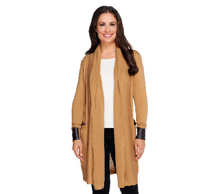 Nicole Richie Collection Cardigan with Faux Leather Detail