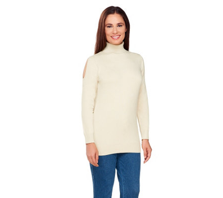 Susan Graver Rayon Nylon Cold Shoulder Turtleneck Sweater
