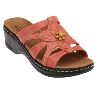 """As Is"" Clarks Leather Slides w/ Bead Detail -Lexi Myrtle - A258177"