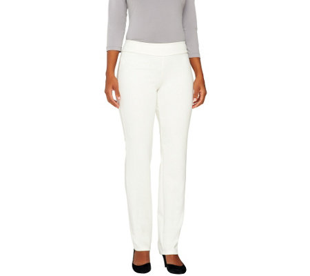 Women with Control Petite Ponte di Roma Slim Leg Pants