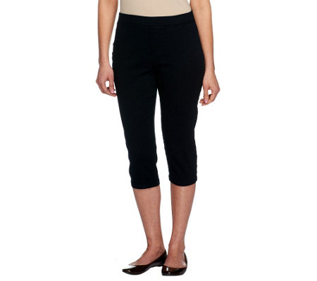 """As Is"" Denim & Co. Denim Pull-On Legging Capri Pants with Pockets"