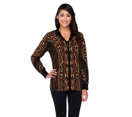Bob Mackie's Zip Front Animal Print Knit Cardigan