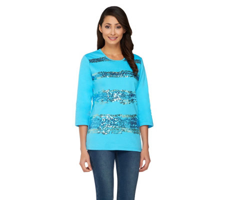 Quacker Factory Sequin Wave 3/4 Sleeve T-shirt