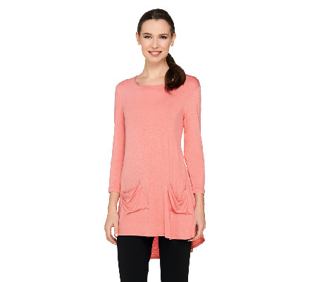 LOGO by Lori Goldstein Slub Knit Top with Button Back Detail